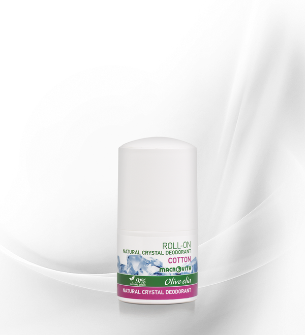 "OLIVELIA DEODORANTE NATURALE ALLUME DI POTASSIO ROLL ON ""COTONE"" 50 ML."